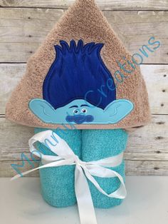 "Grumpy Troll Applique Hooded Bath Towel, Beach Towel 30"" x 54"" by MommysCraftCreations on Etsy"