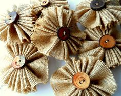 Rustic Burlap Flowers | Rustic Burlap Flowers with Handmade Tree Branch Buttons for the ...