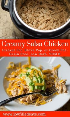 Creamy Salsa Chicken - Instant Pot, Crock Pot, or Stove Top - Low Carb, Grain & Gluten Free, THM S via /joyfilledeats/
