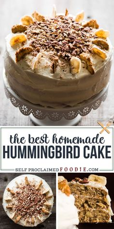 Hummingbird Cake with cream cheese frosting is a moist and delicious homemade layer cake full of tropical banana, pineapple and coconut flavors! #hummingbirdcake #creamcheesefrosting #banana #pineapple #coconut #homemade #best Healthy Dessert Recipes, No Bake Desserts, Easy Desserts, Delicious Desserts, Healthy Food, Frosting Recipes, Cupcake Recipes, Cupcake Cakes, Pie Recipes