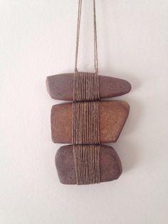 "Stoneware and Linen 5 ""Length 4 Width - Jewelry - # 14 & # . - Stoneware and linen 5 ""length 4 width – jewelry – # 14 & # … - Stone Crafts, Rock Crafts, Arts And Crafts, Armband Diy, Stone Wrapping, Sticks And Stones, Bijoux Diy, Ceramic Jewelry, Nature Crafts"