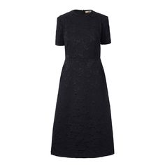 Orla Kiely: Floral jacquard fitted circle neck dress with an a line shaped long skirt panel. Short sleeved. Invisible back zip closure. Satin bonded seams inside finish detail.        Dry clean only. Cool iron on reverse side.