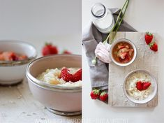 Milchreis mit Erdbeer-Rhabarber-Kompott Dessert, Panna Cotta, Spring, Ethnic Recipes, Food, Hot Chocolate, Rice, Food Food, Dulce De Leche