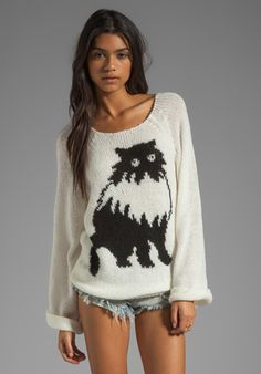 WILDFOX COUTURE White Label Fat Cat Pullover in Egg Shell at Revolve Clothing - Free Shipping!