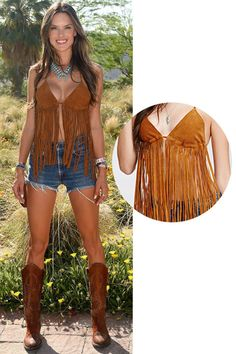 Shop Alessandra Ambrosio's Forever 21 Suede Fringe Halter Top and 12 other celebrities' looks from Coachella.