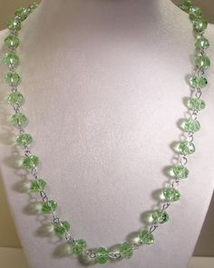 Vintage 60's Long Green Crystal Glass Bead Necklace #Necklace
