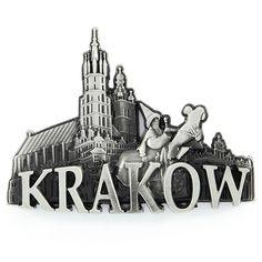 Metal refrigerador imán panorama mercado de Cracovia. Un imán de nevera de metal con la palabra Kraków, que representa un lajkonik en el fondo de la iglesia de Santa María. #renta #imán #imándenevera Renta, Krakow, Refrigerator, Cool Gadgets, Santa Maria