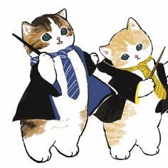 Cute Animal Drawings Kawaii, Pretty Drawings, Cartoon Drawings, Kitten Drawing, Cute Cat Drawing, Funny Doodles, Dibujos Cute, Watercolor Cat, Black Veil Brides