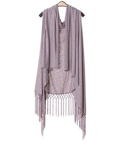 Grey Crochet-Fringe Open Vest #zulily #zulilyfinds