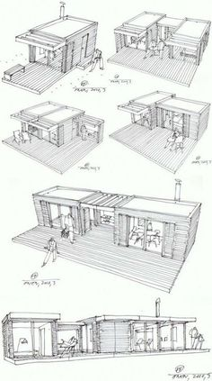 Modular Home Additions in rustic style >> The One house is a compact house design based on the principle of Legos – just add pieces to build on the structure. Each cottage-chic module measures and is prefabricated using local Swedish materials in a Container Home Designs, Container Architecture, Container Buildings, Rustic Coffee Shop, Coffee Shops, Coffee Coffee, Add A Room, Compact House, Casas Containers