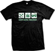 Lifes Major Priorities Pot Food Video Games Mens T-shirt Funny Trendy Hot Weed Smoking Mens Shirt X-Large Black