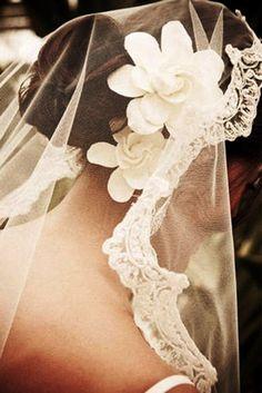 Bridal hair gardenia flower crown with veil