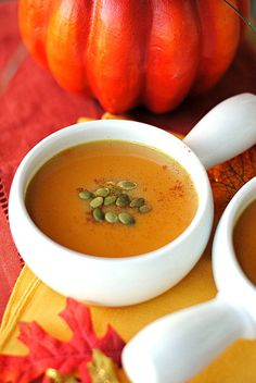 Skinny Ginger Pumpkin Soup - I'll add 1/4 tsp of nutmeg, 1 diced onion and 2-3 gloves of crushed garlic as well.  I'll also likely reduce the maple syrup.