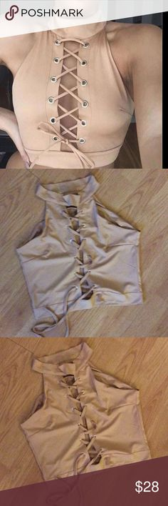 NWT Tan Beige Tie Front Crop Top Large: 33/36C to 33/36DD 29/30 waist 38/39 hips  Medium: 33/36B to 33/36D 27/28 waist 36/37 hips Tops Crop Tops