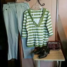 Hooded green/white striped top. Excellent condition. Casual and comfortable.  3/4 sleeve. 100% cotton. Style & Co Tops