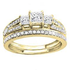 Elora 18k Gold 1ct TDW Princess and Round Cut 3 Stone White Diamond Bridal Ring Set (H-I, I1-I2) (Size