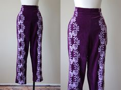 50s Pants - Vintage 1950s Toreador Pants - Purple Cotton Velvet High Waist Bombshell Matador Cigarette Pants M - Purple Rain by jumblelaya on Etsy