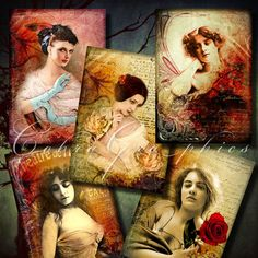 Vintage Beauty  Digital Collage Sheet CG463 for by CobraGraphics, $4.20