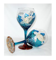 Sea Turtle Wine Glasses Hand Painted Blue Glassware