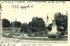 Nagybajom. Főtér a hősök szobrával , 1935.  Képcsarnok   Hungaricana