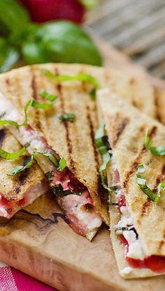 Strawberry Basil & Honey Goat-Cheese-Quesadillas