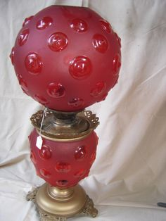 Antique Ruby Red GWTW Lamp w Success Font Electrified Gone with The Wind 8419   eBay  $180