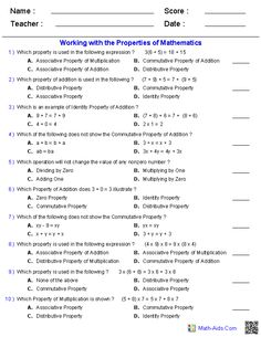 Addition Multiplication Communicative Ociative Properties Worksheets Of Numbers Math