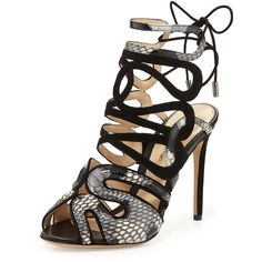 Alexandre Birman Python & Suede Laced-Back Sandal ($345) ❤ liked on Polyvore featuring shoes, sandals, heels, sapatos, chaussures, strappy high heel sandals, lace-up sandals, lace up heel sandals, strappy sandals and peep toe sandals
