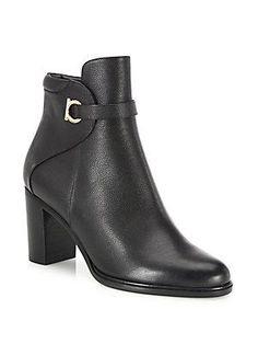 Salvatore Ferragamo Florian Leather Block-Heel Booties