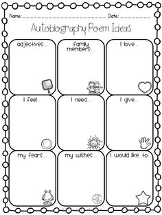 "FREEBIE graphic organizer to go along with the ""All About Me"" Autobiography Poem! Perfect End of the Year or Back to School Writing Activity, but really can be used at any point! GRADES 3-5."