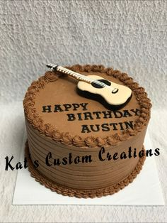 Acoustic Guitar Chocolate Buttercream Cake!