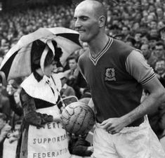 19th August 1961. Derek Dougan trots out for his Aston Villa debut at Everton's Goodison Park.