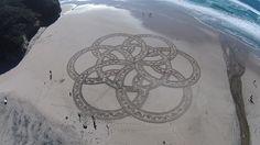 Artwork done by Brandon Anderton at Pomponio Beach near San Gregorio, Calif.  (Photo courtesy of Brandon Anderton)
