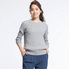 9715923ce5 Women s Cotton Cashmere Cable Knit Sweater Cable Knit Sweaters