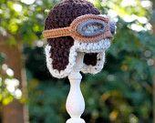 Crocheted aviator hat