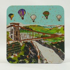 Balloons over the Bridge Bristol Coaster Emmeline Simpson Over The Bridge, On The High Street, Textile Art, Bristol, Creative Business, Personalized Gifts, Coasters, Unique Gifts, Balloons