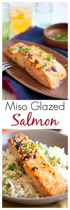 Miso-Glazed Salmon – quick and easy 3-ingredient Japanese miso glaze for the best and juiciest salmon ever. Amazing recipe that everyone loves | rasamalaysia.com | #salmon