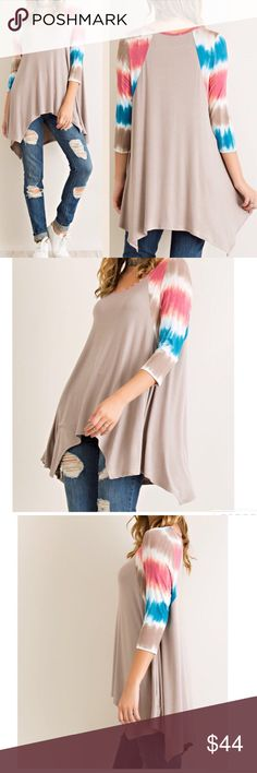 """❗️LAST M❗️Tie dye sleeves solid raglan top Material: 94%Rayon,6% spandex Lightweight Non-sheer Knit Unlined   Measurements:  Small: Armpit to Armpit: 20"""" Length in front and back: 26"""" and 32""""  Medium: Armpit to Armpit: 21.5"""" Length: 27"""" and 32""""  Large: Armpit to Armpit: 23"""" Length: 27"""" and 32.5"""" Pink Peplum Boutique Tops"""