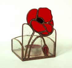 That's a bit different.  RED POPPIES - Candle Holder - Stained Glass