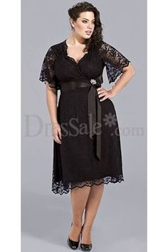 Bridesmaid Dress - Black Tea-length Lace Evening Dresses with Sleeves