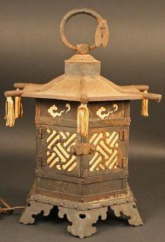 Fine Japanese Garden Hanging Lantern with Cicada (item #834597, detailed views)