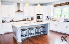 Want to Upgrade Your Kitchen Island? This is a super quick, inexpensive, easy weekend project, that provides a lot of character to an otherwise basic kitchen island by adding picture frame molding. In other words, you will get a lot of bang for you buck. Basic Kitchen, Minimalist Kitchen, Kitchen Ideas, Kitchen Designs, Diy Kitchen Remodel, Kitchen Upgrades, Picture Frame Molding, Dreams Beds, Farmhouse Chic