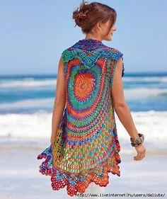 Knitting and Crochet Ideas Website - Crochet vest PATTERN, beach crochet vest, boho crochet vest, CHART and basic instructions in English, charts are not interpreted in words. Crochet Diy, Diy Crochet Cardigan, Mandala Au Crochet, Pull Crochet, Gilet Crochet, Beach Crochet, Crochet Vest Pattern, Crochet Circles, Crochet Jacket