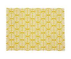 Alfombra de lana hecha a mano Ashley, amarillo y crema - 120x180 cm