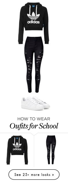 school by sabinekoning on Polyvore featuring Topshop, WithChic and adidas