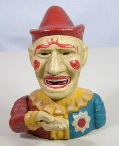 """""""Humpty Dumpty"""" Clown Jester Mechanical Cast Iron Bank - VINTAGE - Works Great #ShepardHardwareCo Vintage Words, Clowning Around, Humpty Dumpty, Rifles, Clowns, Banks, Cast Iron, Old Things, Diy Projects"""