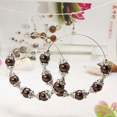 New Item Trendy Basketball Wives Hoop Earrings, with Glass Pearl Beads, Tibetan Style Bead Caps and Brass Earring Hooks, CoconutBrown, 81mm