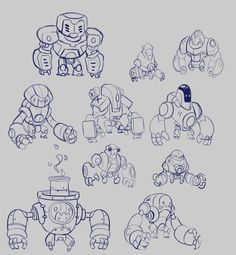 Design exploration I did for an unreleased project I worked on a few years ago at my old company. Was really fun to ply around with styles and sci-fi weirdness. All images are copyright A Thinking Ape. Game Character Design, Character Design References, Character Design Inspiration, Character Concept, Character Art, Arte Robot, Robot Art, Robot Concept Art, Creature Concept Art