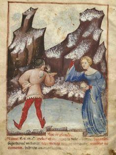 Snowball fight:Tacuinum Sanitatis c. 1390-1400.