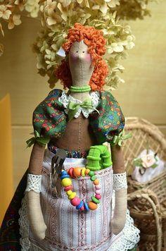 Купить Органайзер Кукла-Тильда Ханна Смотрительница Будуара. Пользильда - зеленый, кукла Тильда, рыжий